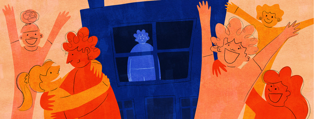 A sad figure is shown behind a window in a dark house while others have fun outside.