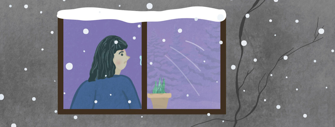 Woman with eczema staring at snow from inside
