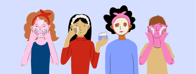 A row of people applying various creams, masks, and lotions to their faces.