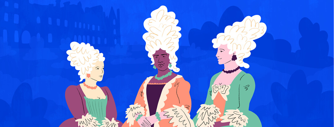 Three regal women are shown wearing victorian wigs outside of a palace, one is asian, another black, and the third is white.