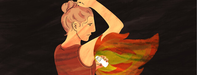 A person holds up their arm and applies deodorant as flames erupt from their armpit.
