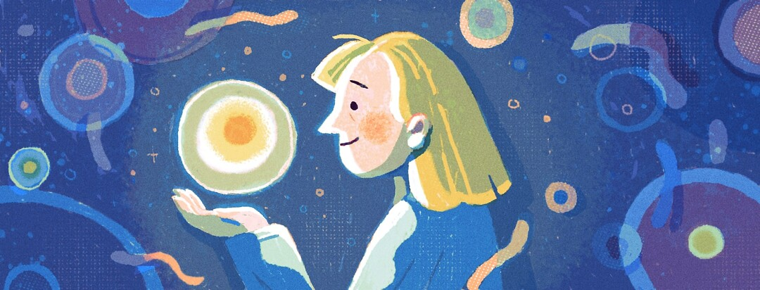 a woman holding a glowing orb smiling at it