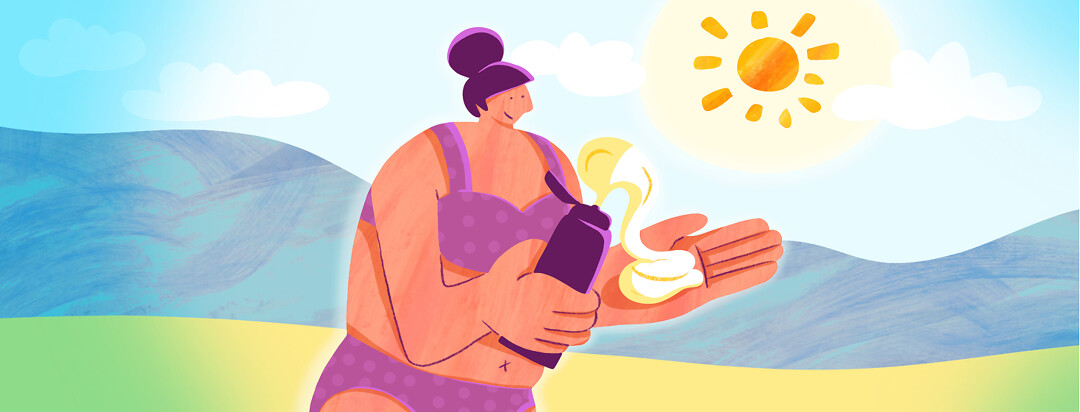 A lady on the beach in a swimsuit squirts sunscreen out onto her hand happily.