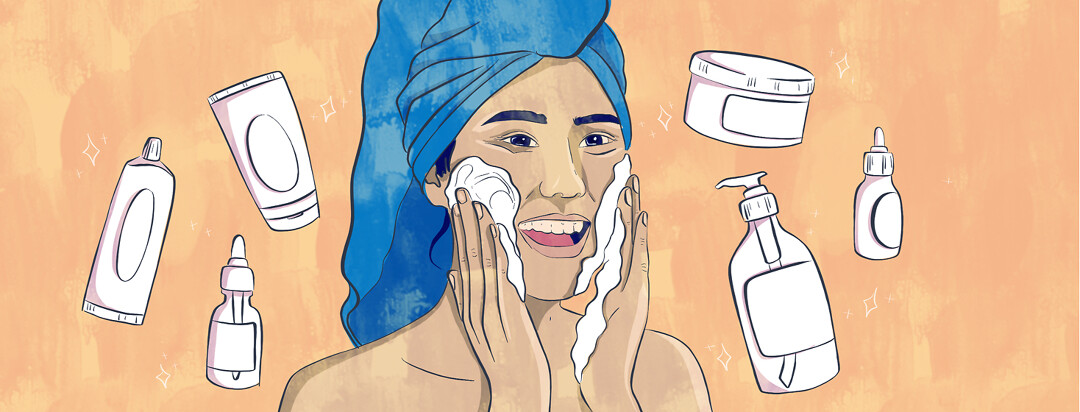 A korean woman rubs cream into her cheeks as various skincare bottles float around her.