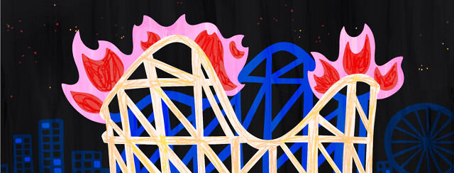A flaming roller coaster.