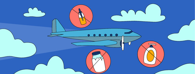 An flying airplane with lotions and tinctures floating around it in crossed out bubbles.