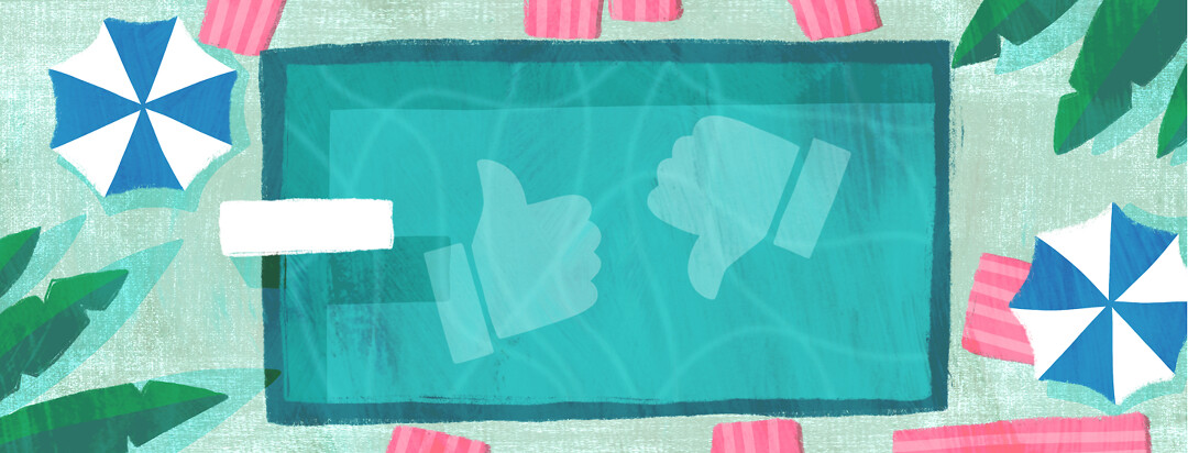 A swimming pool with a thumbs up and thumbs down icon floating in the water.