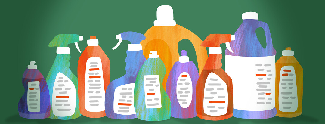A row of various cleaning product bottles with red lines highlighted on their ingredients lists.