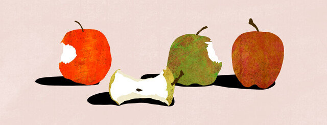Four apples are shown with varying stages of being eaten.