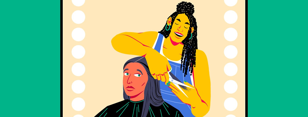 A woman sits hesitantly in a salon chair while a hairdresser starts cutting her locks.