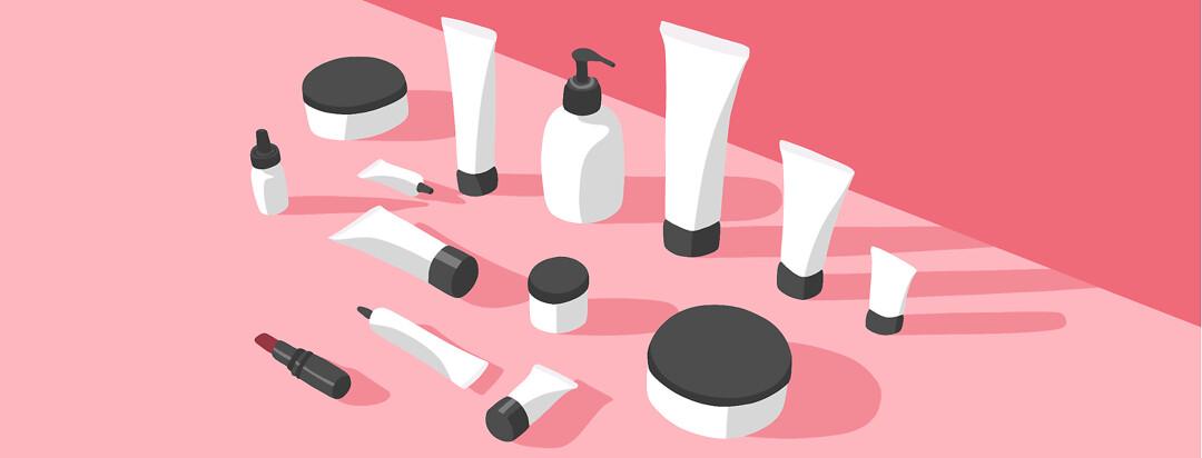 An assortment of cosmetics and makeup.
