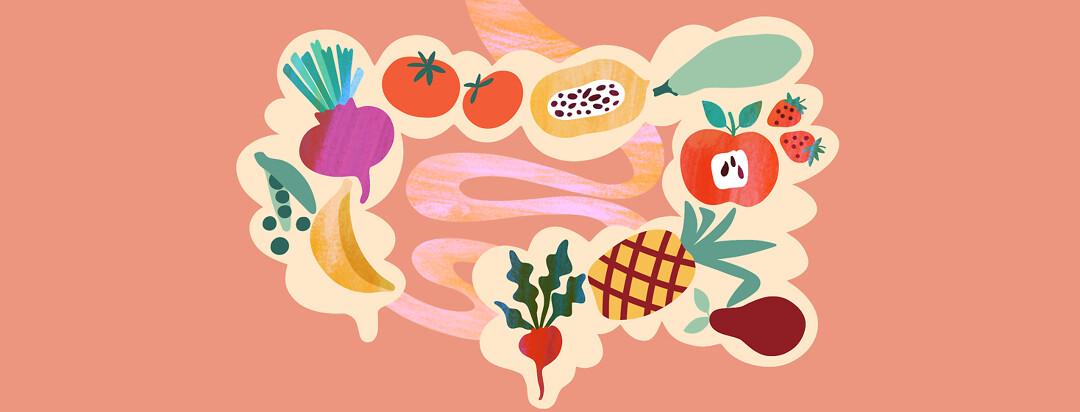 An inside look at intestines with healthy fruits and vegetables traveling through them.