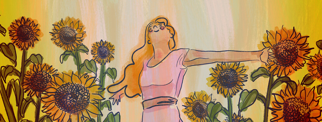 A woman looks up to the sun, arms outstretched, in a field of sunflowers.