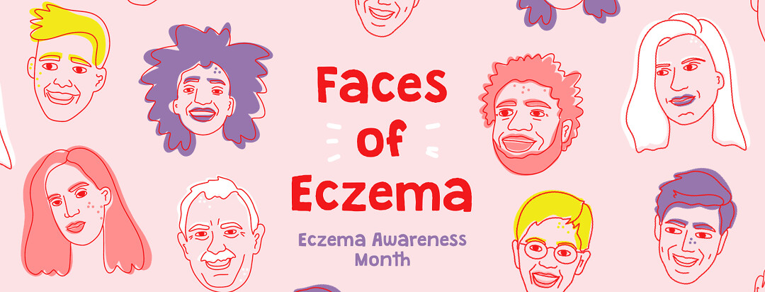 """A diverse set of line drawn faces appear with the text reading """"Faces of Eczema : Eczema Awareness Month""""."""