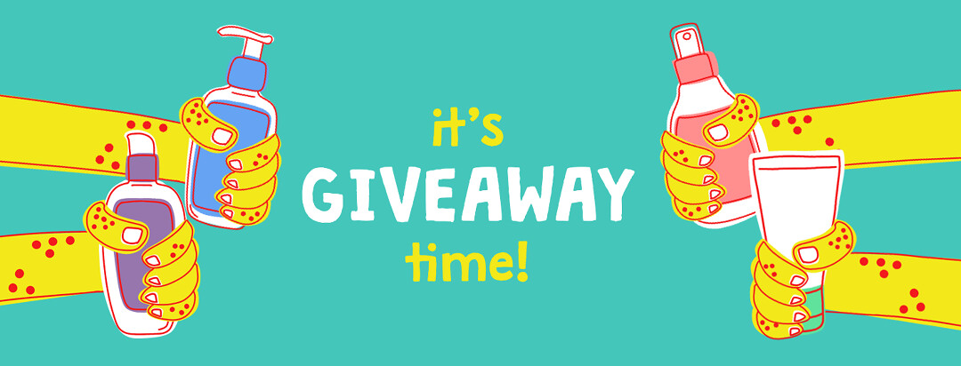 """Four hands holding different eczema products are outstretched towards text in the middle that reads """"It's Giveaway Time!"""""""