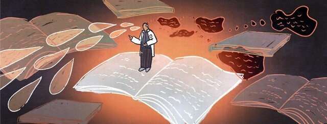 Doctor standing on a large book with speech bubbles coming out of their mouth and thought bubbles into their head