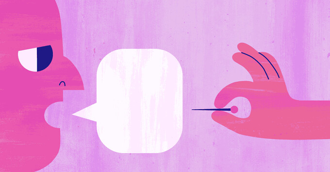 A person saying something hurtful, a hand with a pin about to pop the speech bubble, rude, comment, conversation, ignorant