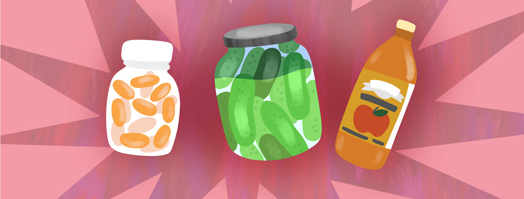 Probiotic foods are featured including a jar of pickles, apple cider vinegar, and probiotic supplements.