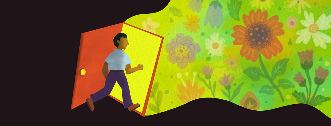 A man walks through a door from a dark room to the outside with many flowers and allergy triggering elements.
